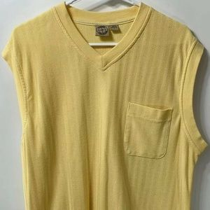 Haband Mens Sweater Vest Yellow Herringbone Large